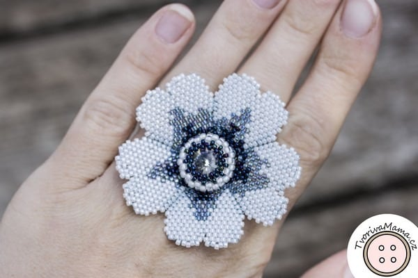 White Flower Beadweaving Ring